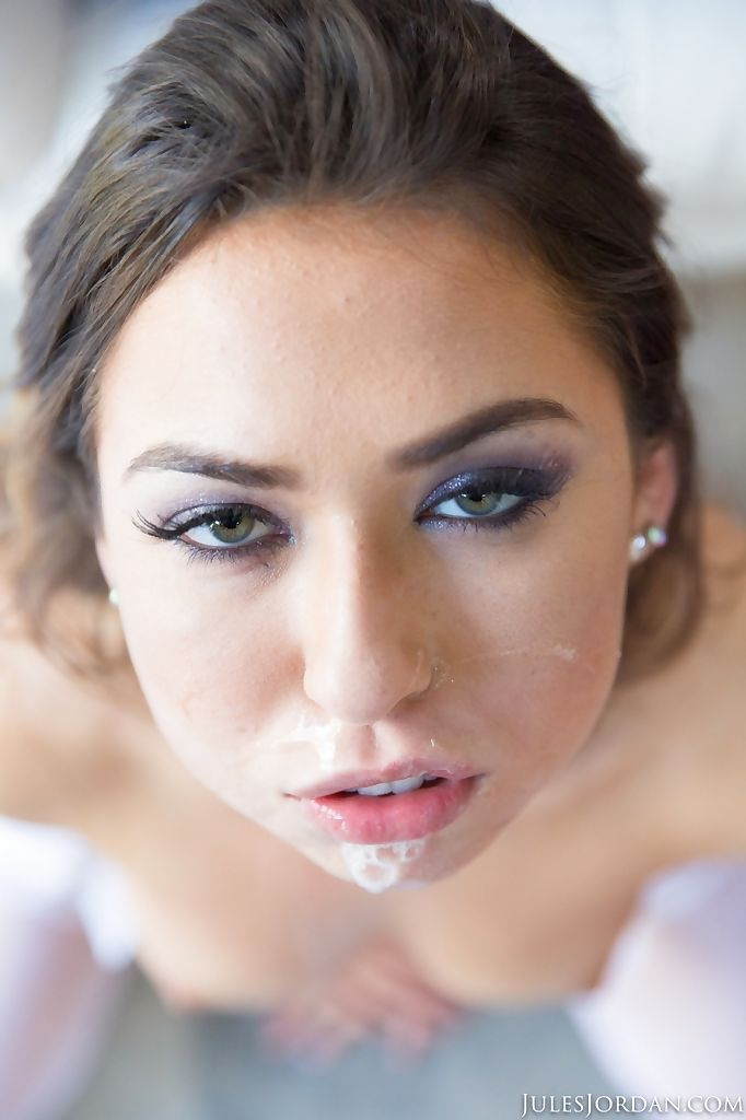 Compact Latin hottie princess Melissa Moore blows jism bubbles prior to taking in