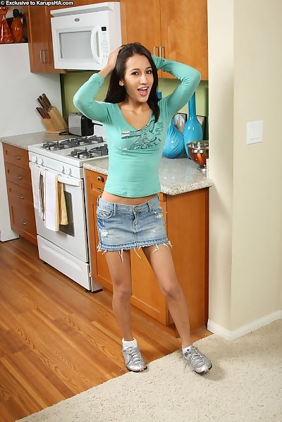 Flimsy darling Amia Moretti posing in kitchen and showing appealing underware