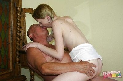 Skinny teen with pigtails fucks an oldman and gets her shaved cooter jizzed