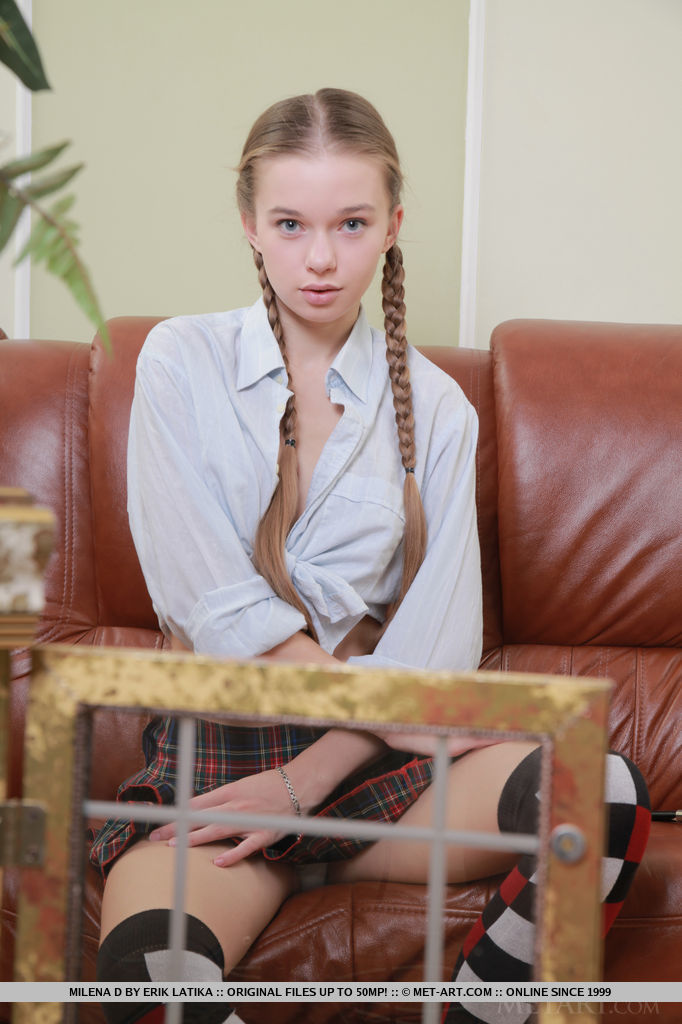 Simply legal schoolgirl Milena D revealing adolescent curly twat in crave socks