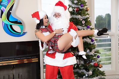 Holly Hendrix receives Santa to shag her petite wazoo breach in powerful ways
