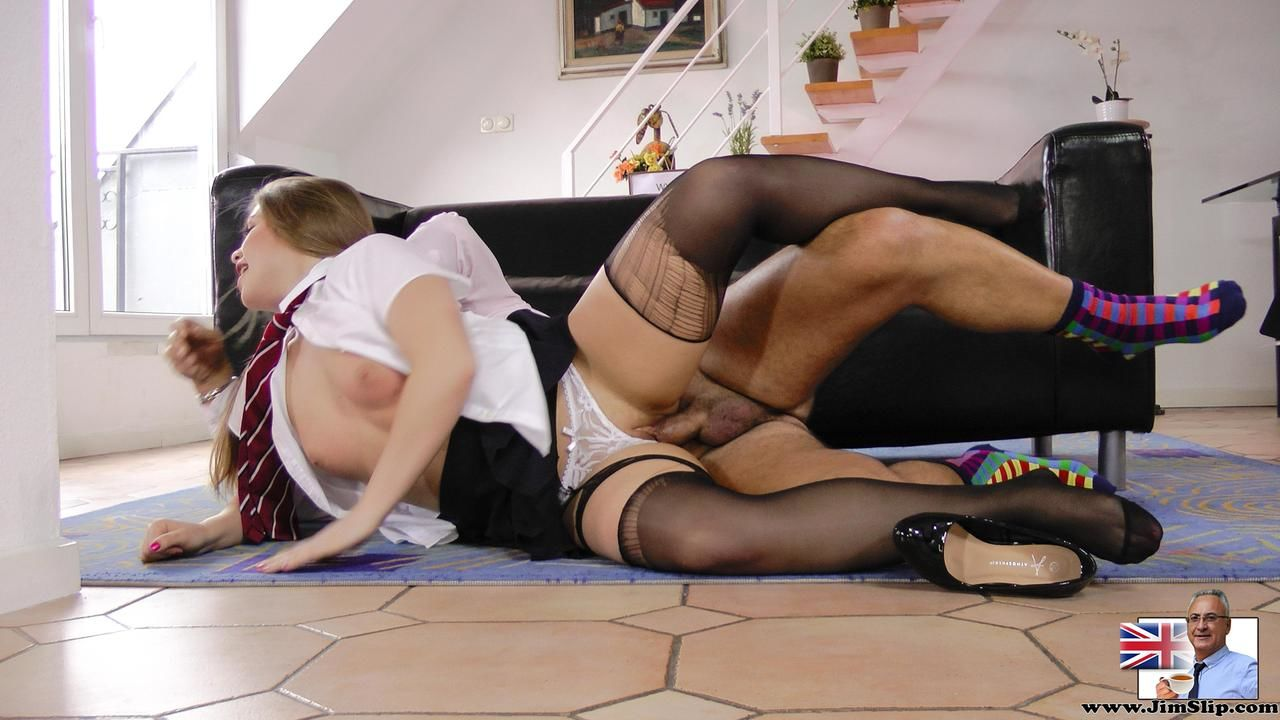 Adolescent schoolgirl teases and aged stallion in advance of her digs her massive and rips her pantyhose