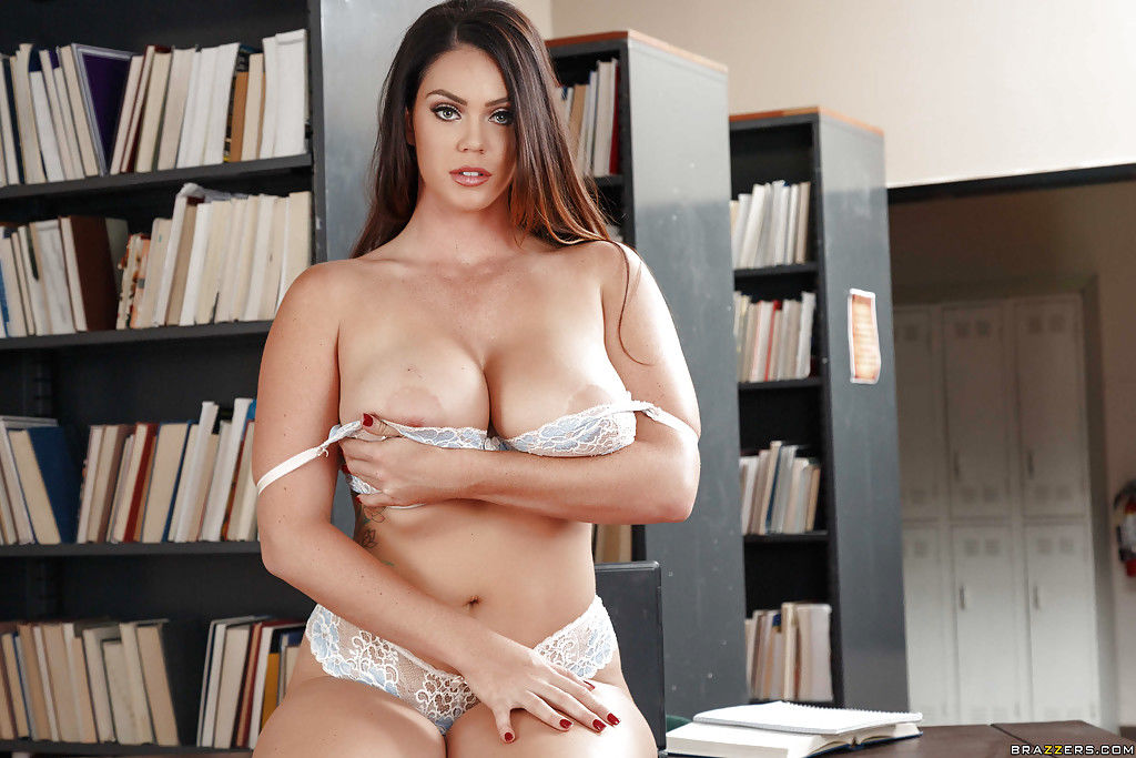 Buxom solo dear Alison Tyler disrobes unclothed in library to as was born massive youthful whoppers