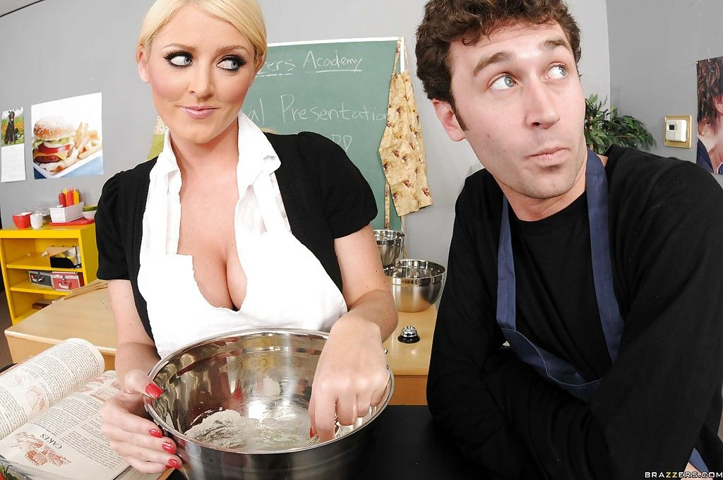 Huge titted fairy Sophie Dee bangs large knob in a cooking school