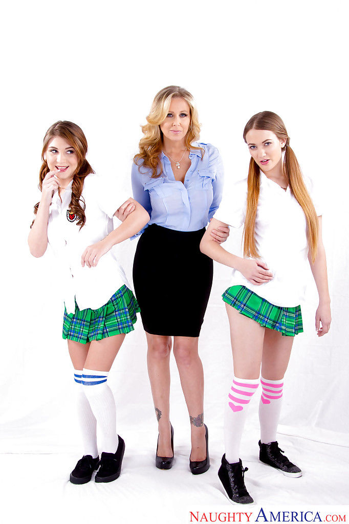 MILF Julia Ann has intercourse dirty schoolgirls Samantha Hayes and JoJo Take up with the tongue