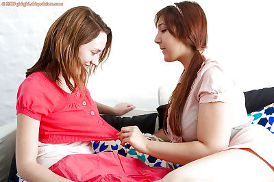 Infant princesses Chana and Katy get from subterranean tongue lick previous to removing shorts