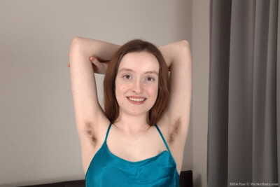Juvenile 1st timer Billie Rae shows her unshaven armpits and bush in the naked