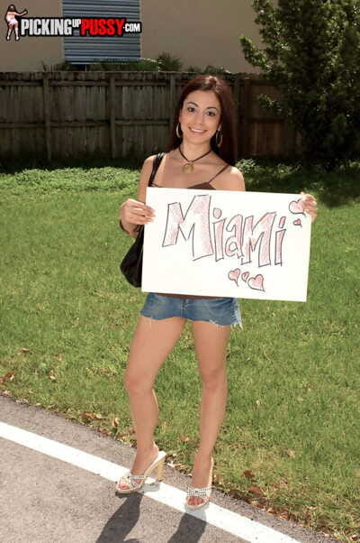 Diminutive darling Nikki Vee went to Miami for voluptuous drivers stick in twat outdoors