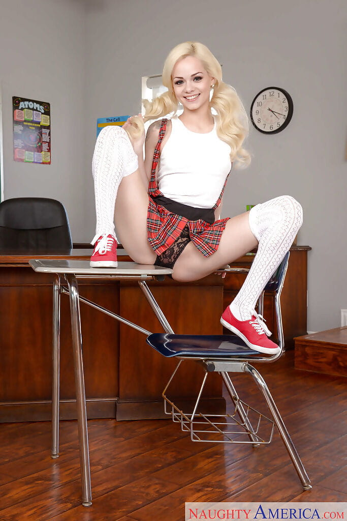 Juvenile pretty Elsa Jean making pornstar debut in schoolgirl uniform and socks