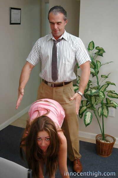 Charming schoolgirl adolescent dark brown Myah giving a sweet cocksucking