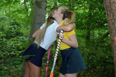 Youthful woman-on-woman schoolgirls Lucy-Anne Brooks and Natalia Forrest