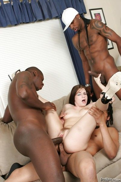 Insane black-dicked gangbang with powdery white Tatiana Kush