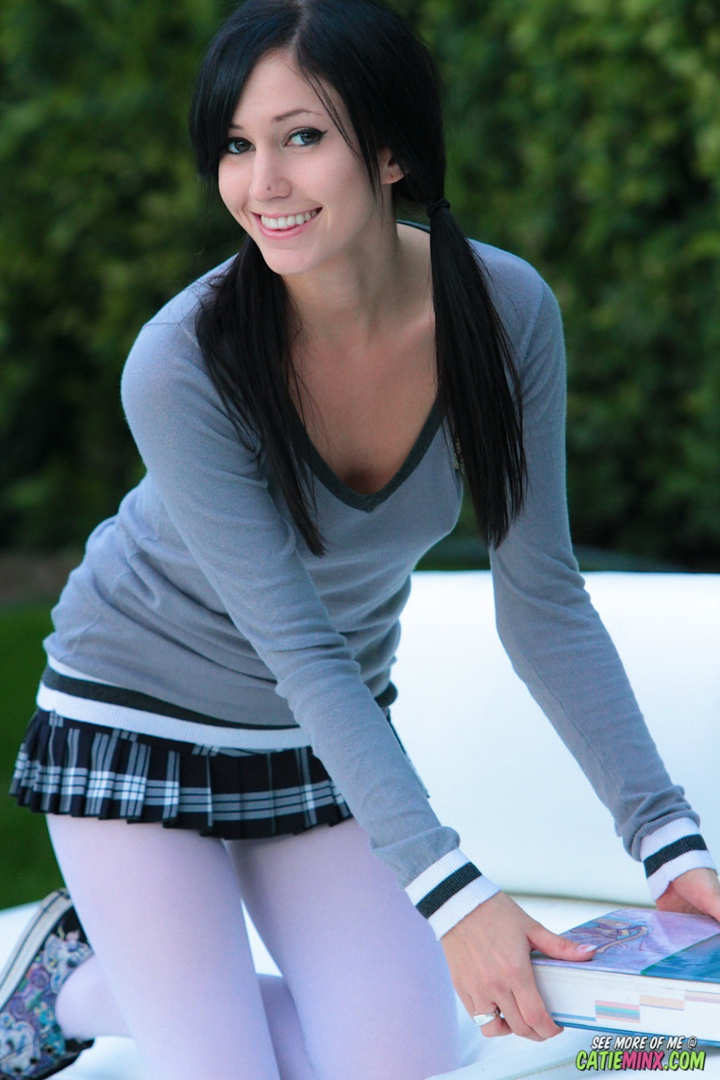 schoolgirl catie minx in nylon stockings flashing outdoors at
