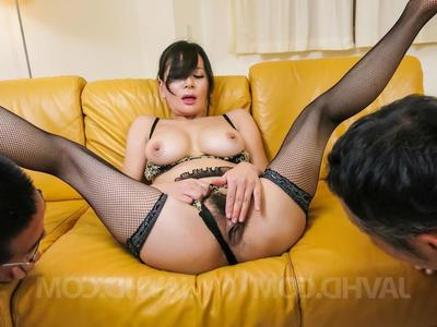 Rei Kitajima with hairy twat licks two supplies sought after coupled with gets cum