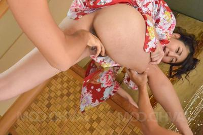 Yuna Shiratori Asian is fingered, fucked just about frowardness and twat by men