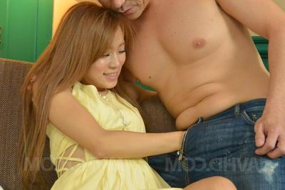 Reina Oomori Asian has nipples squeezed and trained vanguard having it away
