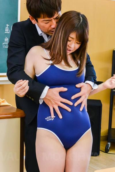 Kaho Asian is undressed of bath suit, sucks load of shit with an increment of is nailed