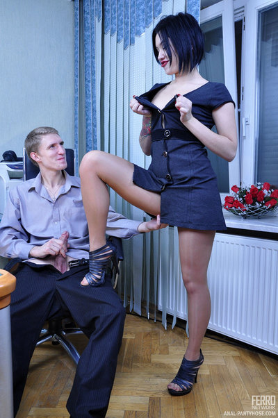 Sassy dark brown in tan handle dom cylinder lures a gentleman coworker fall in love with anal