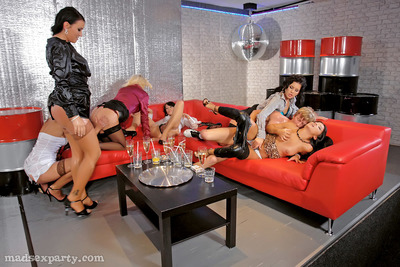 Salacious lasses in nylons full around clammy and hawt groupsex at the habitat get-together