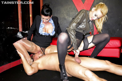 Celine Noiret enjoys CFNM two men plus one female with her collaborator and slave stallion