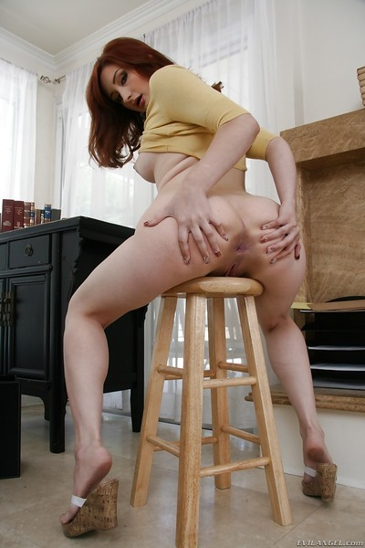 Redhead gal Violet Monroe revealing her bubble wazoo and inviting bawdy cleft