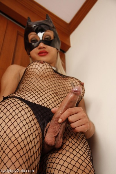 Japanese unnatural girls in catwoman blocking cloth