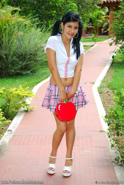 Lalin girl young schoolgirl outdoors