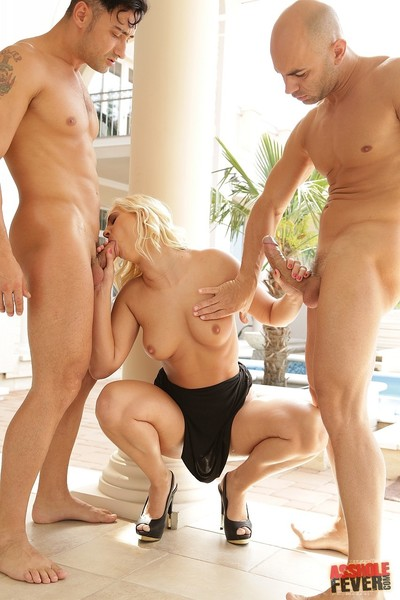 Sensible blond linda ray drilled heavy in anal Male+Male+Female