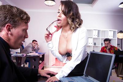 Glasses wearing secretary Cara Saint-Germain giving co-worker dick sucking