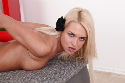 Using lube allows golden-haired pretty Lena