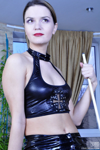 Leather  female-dominator face holes and waste fucks her submissive in the billiard room