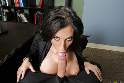 Office brown hair with largest boobies Jaclyn Taylor is engulfing clammy rod