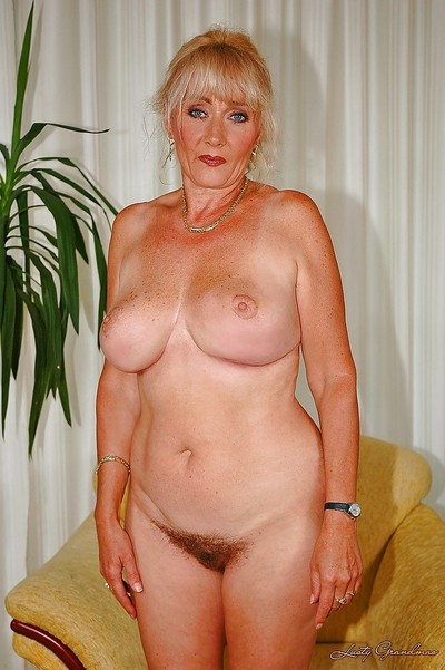 Biggest titted aged shows her slit and plays with a rough gear