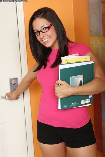 Pretty hotty in sweet glasses Gracie Glam admirable off her taut underwear