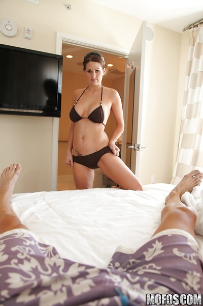 Rounded lass in bikini Allison Moore posing and teasing her boo