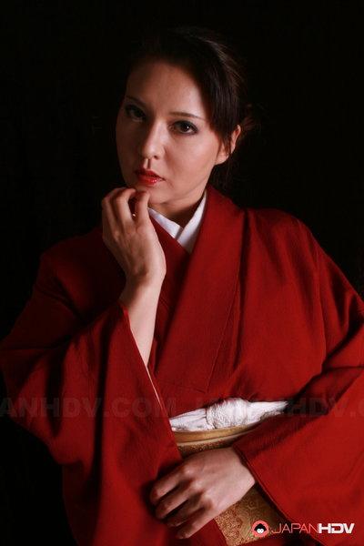 Yuki Tsukamoto acquires her hard milk sacks spilling not featured her kimono.