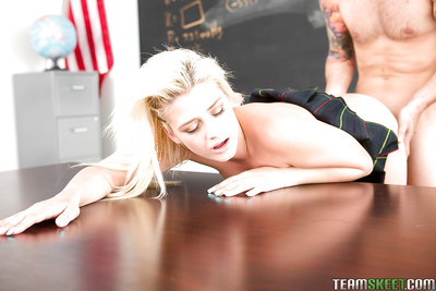Blond teenager Aubrey Gold fascinating sperm stream on loved schoolgirl milk sacks