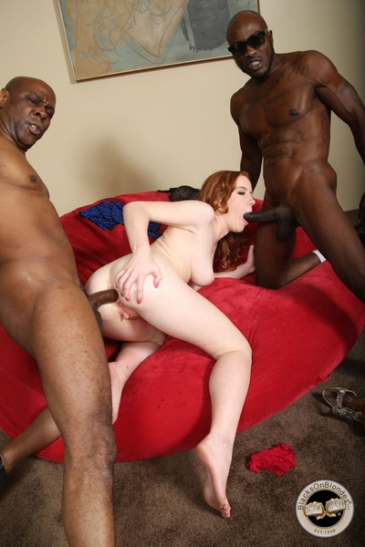 Clammy interracial two men plus one female act of love