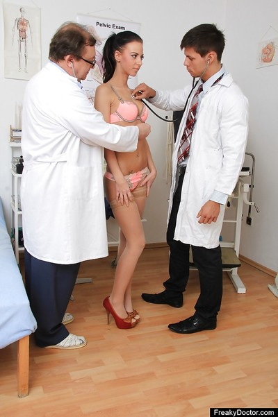 Sassy sweetmeat in sexy pants has some naughty getting pleasure at her gyno exam