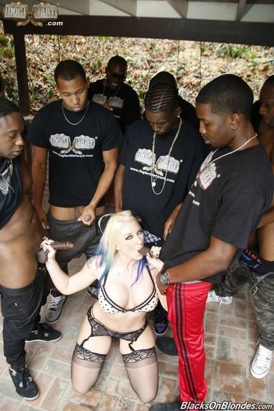 Leya falcon in an interracial group sex scene