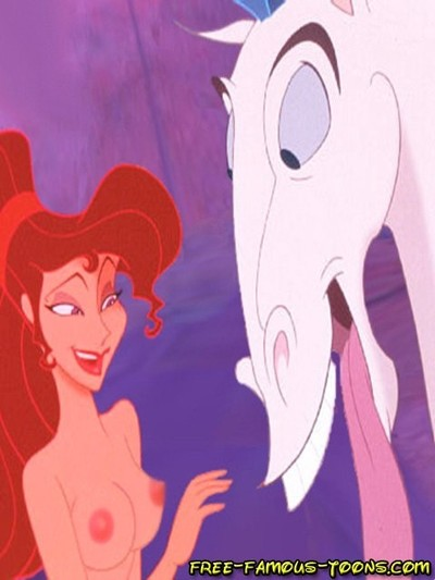 Well-known animations hercules and megara appealing groupie