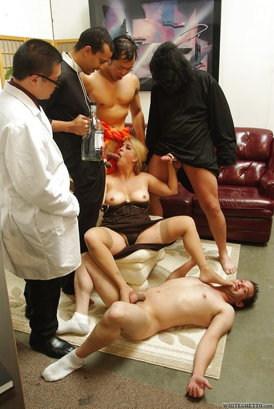 Fatty MILF Joclyn Stone is admires hardcore groupsex with four lascivious boys