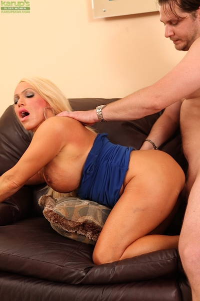 Ready floozy with giant round jugs gives head and purchases her hairless snatch boned-up
