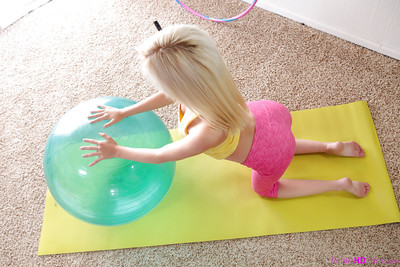 Just legal fairy-haired hottie Piper Perri working out barefoot in spandex