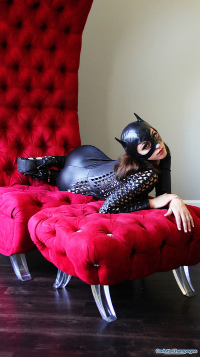 Consummate brunette hair carlotta in her untamed catwoman clothing