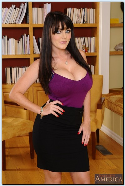Busty office model Sophie Dee striping down and fingering her bawdy cleft