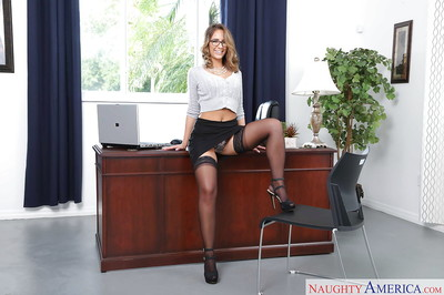 Glasses wearing fairy-haired lass Layla London baring huge secretary apples in office