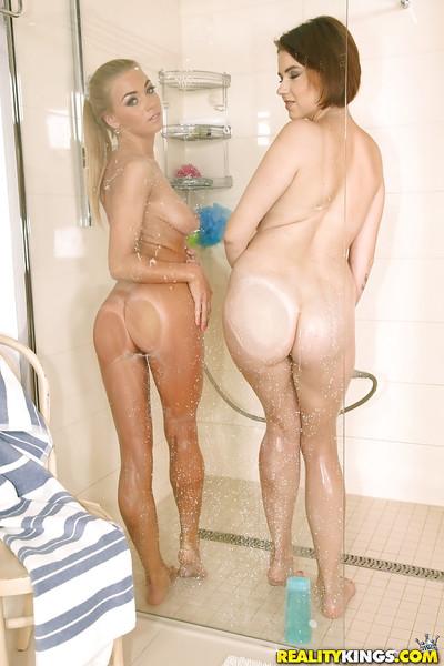 Bare lesbian hotties Marina Visconti and Lolly Gartner enjoying washroom exactly after love making act
