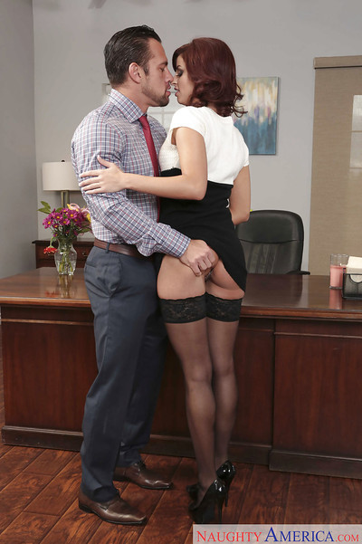 Willowy secretary Shavelle Love getting bent over desk for from behind sexual act