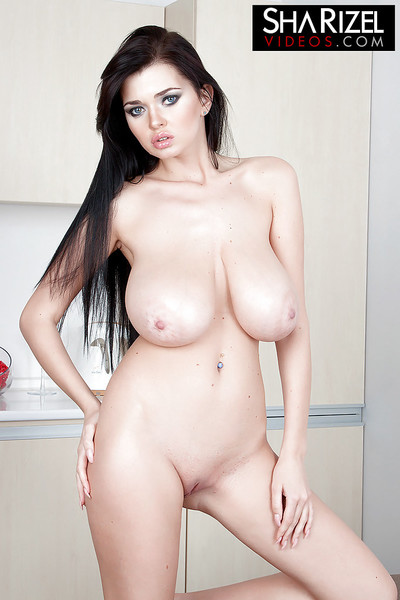 Brunette hair hottie Sha Rizel unveiling rough hooters and piercings in kitchen